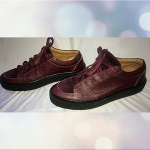 Barney's New York designer sneakers maroon brown